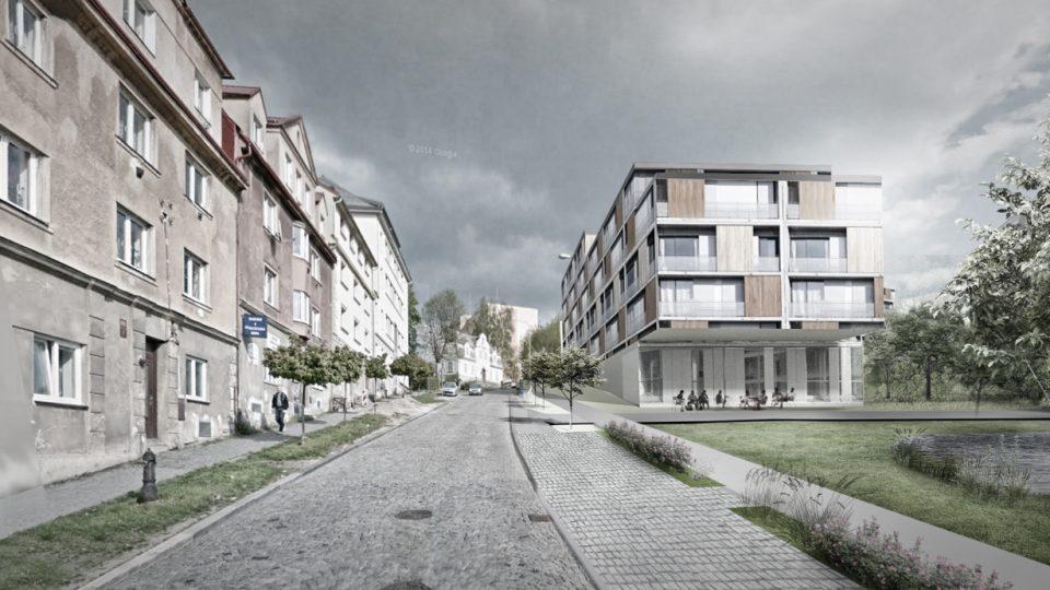 Návrh - vizualizace bytových domů nové čtvrti na libereckém Perštýně z roku 2016