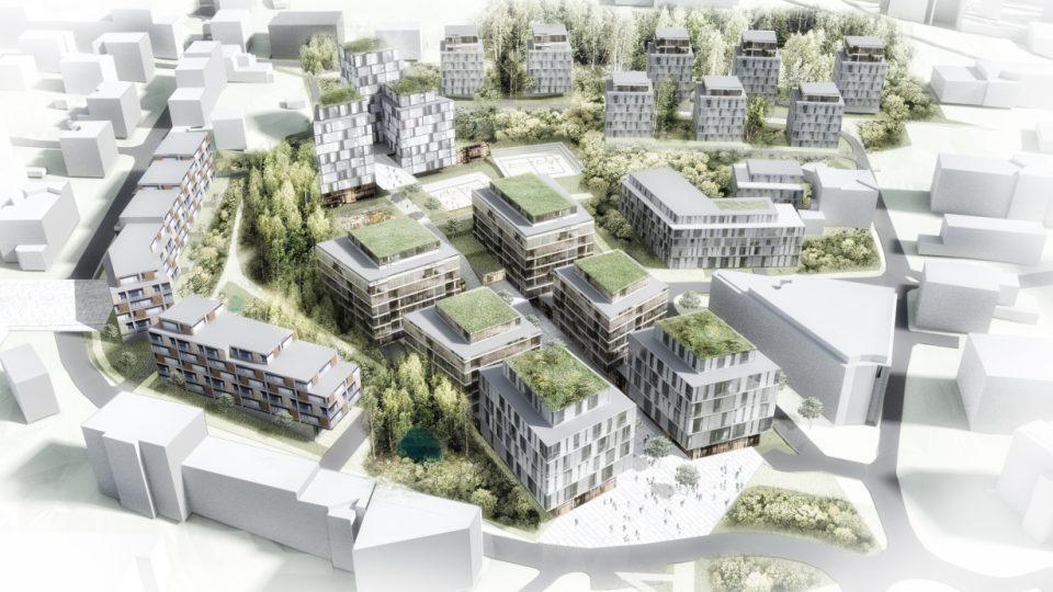 Vizualizace - návrh budoucí podoby nové čtvrti na libereckém Perštýně z roku 2016