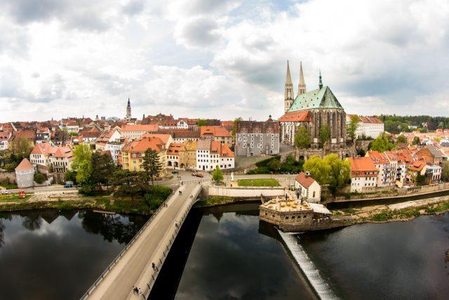 Pohled na německo-polské město Görlitz