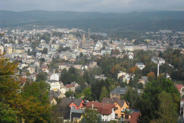 Pohled na Jablonec nad Nisou z Petřína