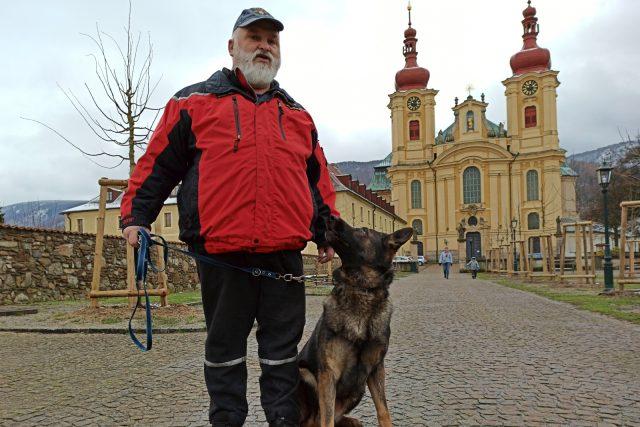 František Schejbal starší a jeho pes Uran