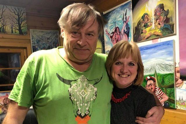 Moderátor Petr Urban a Milada Valečková, ředitelka Muzea skla a bižuterie v Jablonci