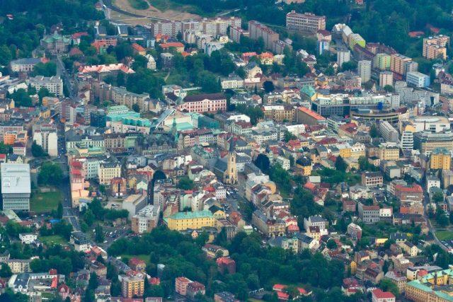 Centrum města Liberce - letecký snímek (2012)