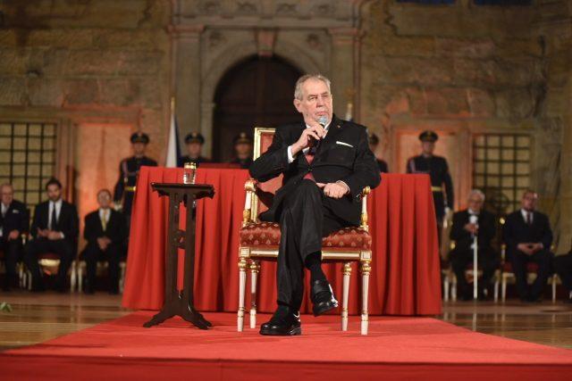 Prezident Miloš Zeman během projevu při předávaní státních vyznamenání 28. října 2019