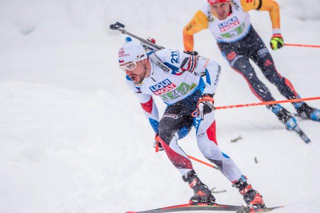 Michal Krčmář během závodu smíšených štafet na mistrovství světa | foto:  (C) Český biatlon,  Petr Slavík